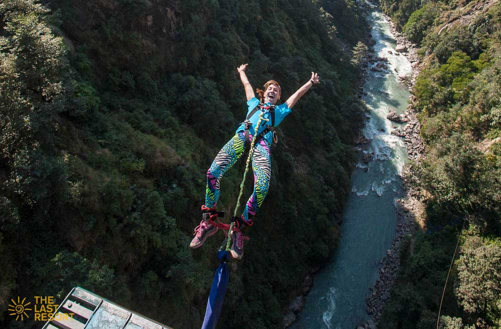 A tourist on the Last Resort for Bungee Jumping in Nepal