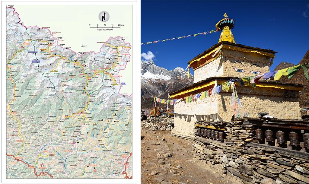 manaslu tsum valley trek map